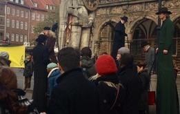 Aktionstag auf dem Bremer Marktplatz – gegen die Todesstrafe und in Erinnerung an Dmitrij Konowalow und Wladislaw Kowaljow.