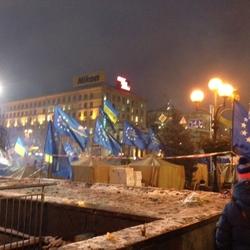 Europafahnen auf dem Maidan